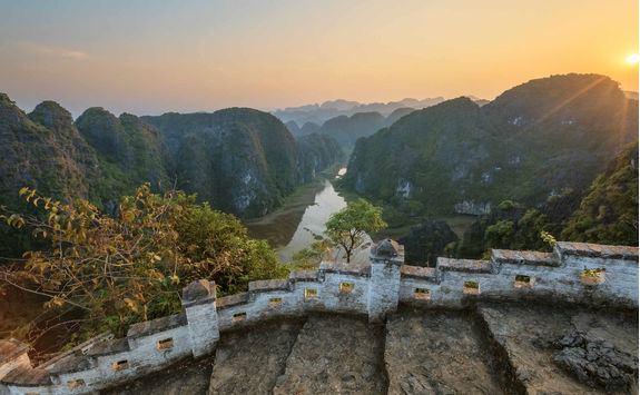 Sunset in the mountains in Ninh Binh