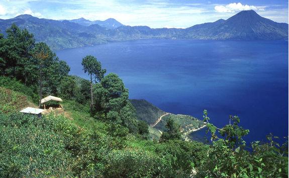 aerial view of lake atitlan
