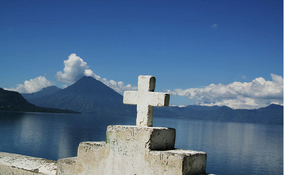 cross and view of the lake