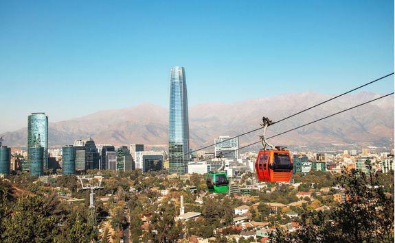 cable car and santiago aerial skyline