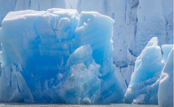 closeup view of grey glacier iceberg