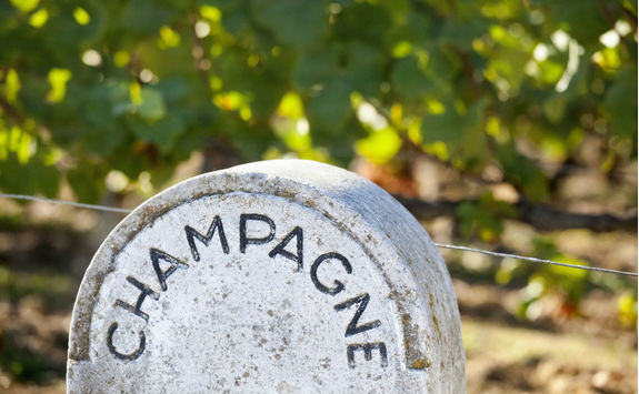 Stone champagne sign in a vineyard