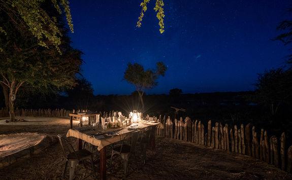 Bush dinner under starlight
