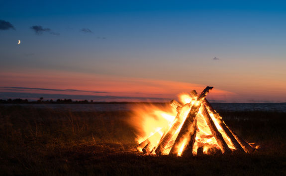 Bonfire on a sea beach