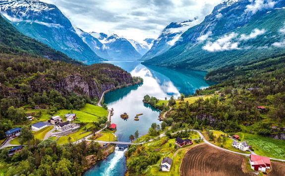 Geiranger village and lake