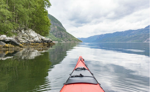 Kayaking in a fjord
