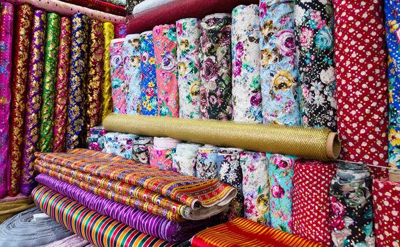 Fabrics in Kemeralti Bazaar