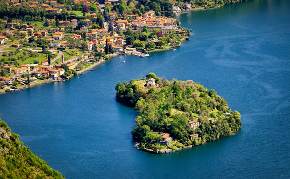 Aerial view of Isola Comacina in Lake Como