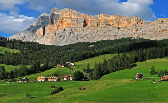 Panorama of the Dolomites rocky mountains Sasso Della Croce