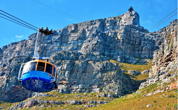 View from Table Mountain of a cable car