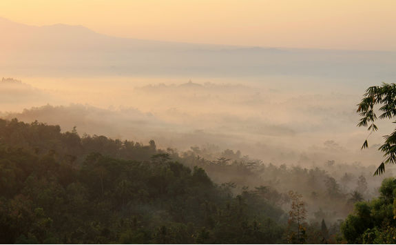 View of the mist around Borobudur