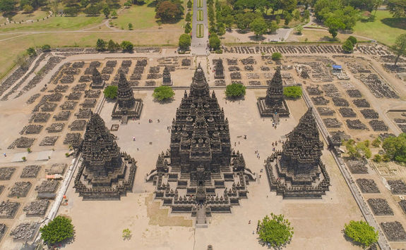 Aerial view of Prambanan Temple