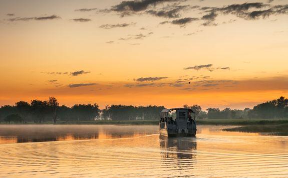 Cruising across an oxbow lake