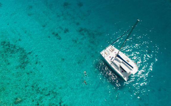 Aerial view of catamaran