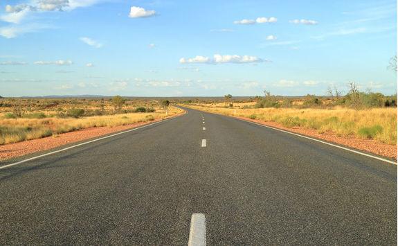 Stuart highway near Alice Springs in Australia