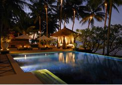 spa village tembok swimming pool night