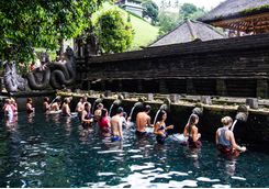 water blessing in a temple bali