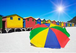 Colourful Umbrella on the Beach