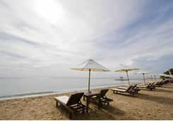Sanur Beach in Bali sunloungers
