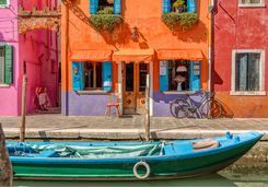 burano coloured houses and boat
