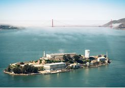 Alcatraz Island with a few of the Golden Gate bridge