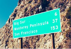 Road sign with popular destinations