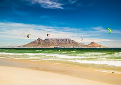 Kite surfing by Table Mountain