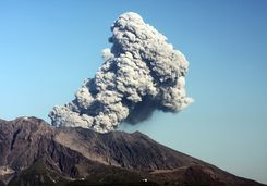 Eruption on Mount Sakurajima in Kagoshima