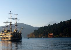 Pirate ship crossing Lake Ashi in Hakone