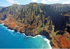 Colorful cliffs off Na Pali coast