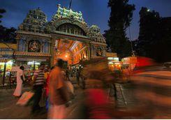 Minakshi temple madurai in the evening