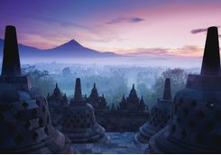 Sunrise over the ancient Buddhist Stupa Borobudur