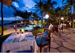 Dinner setting in Bali on the coast