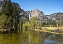 Merced River and Yosemite waterfalls