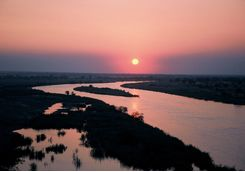 The Zambezi River at Sunset