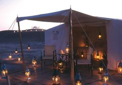 Tent at Dar Ahlam Desert Camp by night