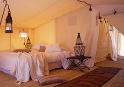Inside of a tent at Dar Ahlam