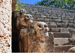 Engraved skulls in the ruins