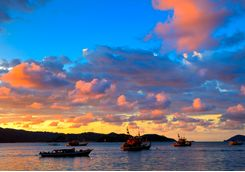 Boats in the sunset at Kota Kinabalu