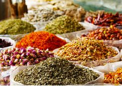 Mounds of Spices in a Market