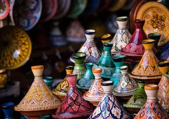 Decorative Tagine Dishes in a Market