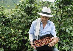 Farmer with coffee beans