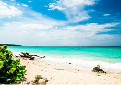 White sand beach on the Rosario Islands