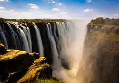 Victoria Falls with fog