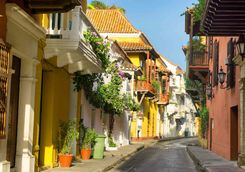 Colourful street in Cartagena