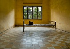 Prison cell in Toul Sleng