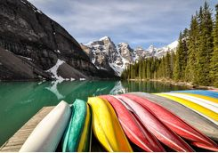 Canoes lakeside