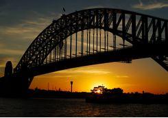 Sydney Bridge in the sunset