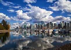 Reflection of Vancouver skyline