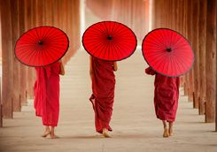 Three monks with red umbrellas